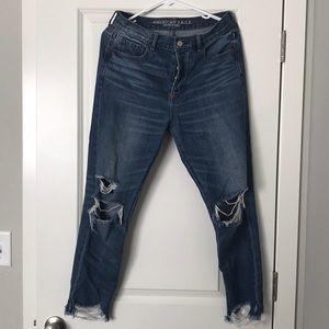 Distressed American Eagle boyfriend jeans